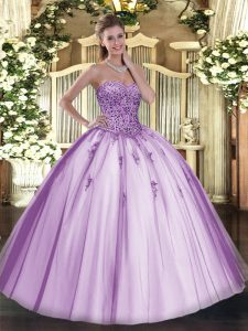 Stylish Lavender Sleeveless Beading Floor Length Ball Gown Prom Dress