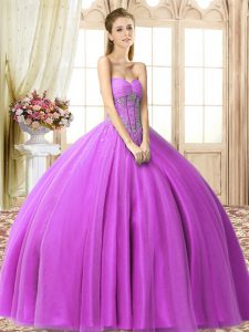 Inexpensive Beading Vestidos de Quinceanera Lilac Lace Up Sleeveless Floor Length