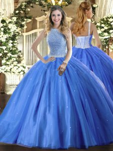 Floor Length Lace Up Quinceanera Dress Baby Blue for Military Ball and Sweet 16 and Quinceanera with Beading