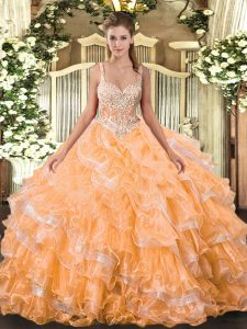 Orange Sleeveless Beading and Ruffled Layers Floor Length Quinceanera Dresses