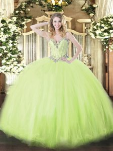 Top Selling Yellow Green Lace Up Sweetheart Beading Quince Ball Gowns Tulle Sleeveless