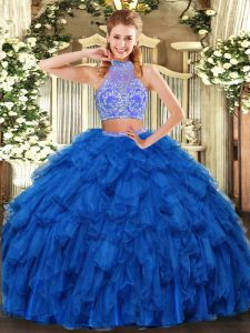 Floor Length Criss Cross Quinceanera Gowns Royal Blue for Military Ball and Sweet 16 and Quinceanera with Beading and Ruffles