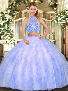 Sleeveless Floor Length Ruffles Criss Cross Quince Ball Gowns with Lavender