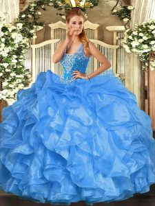 Baby Blue Straps Lace Up Beading and Ruffles 15 Quinceanera Dress Sleeveless