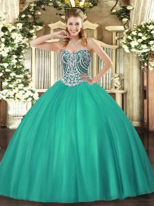 Sweetheart Sleeveless Tulle Vestidos de Quinceanera Beading Lace Up