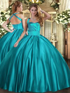 Custom Made Teal Ball Gowns Halter Top Sleeveless Satin Floor Length Lace Up Ruching Ball Gown Prom Dress