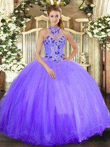 Charming Floor Length Lavender Sweet 16 Dress Halter Top Sleeveless Lace Up