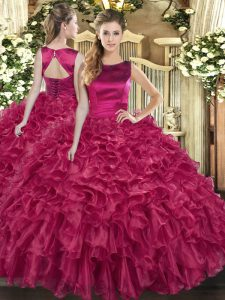 Attractive Sleeveless Ruffles Lace Up Quinceanera Gown