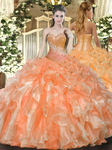 Floor Length Orange Red Quince Ball Gowns Organza Sleeveless Beading and Ruffles