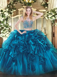 Captivating Organza Sleeveless Floor Length Vestidos de Quinceanera and Beading and Ruffles