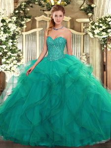 Exquisite Sleeveless Lace Up Floor Length Beading and Ruffles Quinceanera Dresses