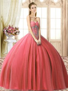 Coral Red Sweetheart Neckline Beading Sweet 16 Dresses Sleeveless Lace Up