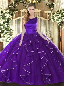 Purple Ball Gowns Scoop Sleeveless Tulle Floor Length Lace Up Ruffles Vestidos de Quinceanera