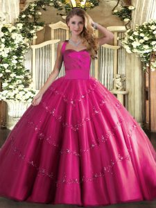 Edgy Sleeveless Lace Up Floor Length Appliques Quinceanera Dress