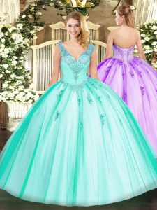 Customized Turquoise Ball Gowns V-neck Sleeveless Organza and Tulle Floor Length Lace Up Beading Sweet 16 Quinceanera Dress