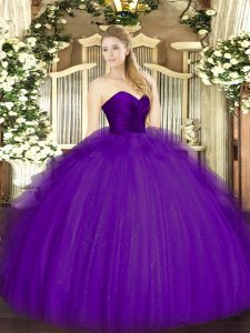 Luxury Ball Gowns Quince Ball Gowns Purple Sweetheart Tulle Sleeveless Floor Length Zipper