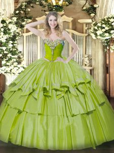 Beading and Ruffled Layers 15th Birthday Dress Olive Green Lace Up Sleeveless Floor Length