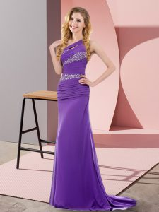 Sleeveless Sweep Train Lace Up Floor Length Beading Evening Dress