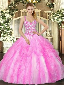 Straps Sleeveless 15th Birthday Dress Floor Length Appliques and Ruffles Lilac Organza