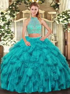Turquoise Two Pieces Beading and Ruffles Ball Gown Prom Dress Criss Cross Organza Sleeveless Floor Length