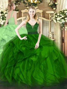 Traditional Green Ball Gowns Straps Sleeveless Organza Floor Length Zipper Beading and Ruffles 15 Quinceanera Dress