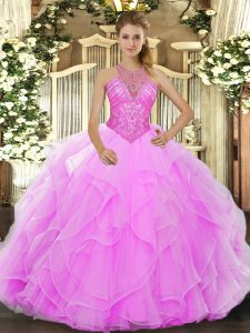 Affordable Organza High-neck Sleeveless Lace Up Beading and Ruffles 15 Quinceanera Dress in Rose Pink