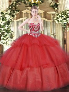 Red Lace Up Sweetheart Beading and Ruffled Layers Quince Ball Gowns Organza Sleeveless