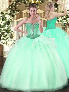 Floor Length Lace Up Quinceanera Dresses Apple Green for Sweet 16 and Quinceanera with Beading