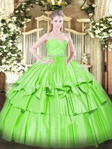 Custom Designed Sweetheart Sleeveless Organza Quinceanera Dress Beading and Lace and Ruffled Layers Zipper