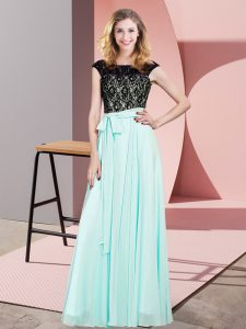 Unique Aqua Blue Chiffon Lace Up Scoop Sleeveless Floor Length Lace