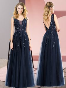 Colorful Navy Blue Square Neckline Beading and Appliques Prom Party Dress Sleeveless Backless