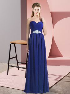 Blue Prom Dresses Prom and Party with Beading Sweetheart Sleeveless Lace Up