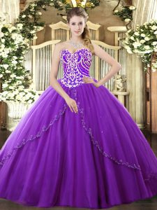 Beading Quinceanera Gowns Purple Lace Up Sleeveless Brush Train