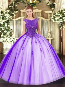 Hot Sale Purple Scoop Neckline Beading and Appliques Sweet 16 Quinceanera Dress Sleeveless Zipper