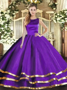Purple Scoop Neckline Ruffled Layers Sweet 16 Quinceanera Dress Sleeveless Lace Up