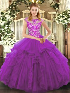 Dynamic Purple Cap Sleeves Beading and Ruffles Floor Length Quinceanera Gowns