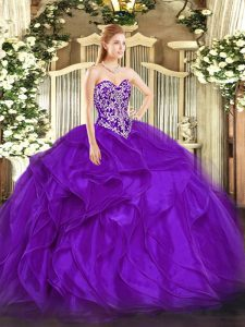 Purple Organza Lace Up Sweet 16 Dresses Sleeveless Floor Length Beading and Ruffles
