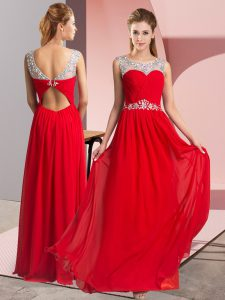 Graceful Sleeveless Floor Length Beading Clasp Handle Prom Dresses with Red