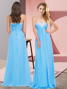 Lovely Sleeveless Lace Up Floor Length Ruching Prom Dresses