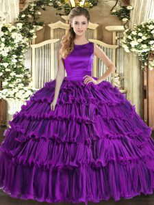 Organza Scoop Sleeveless Lace Up Ruffled Layers Quinceanera Gown in Eggplant Purple