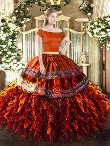 Suitable Rust Red Short Sleeves Floor Length Ruffles Zipper Vestidos de Quinceanera
