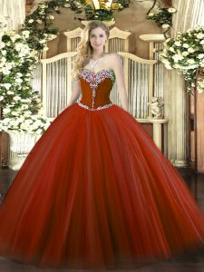 Beading Vestidos de Quinceanera Rust Red Lace Up Sleeveless Floor Length