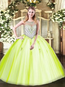 Traditional Scoop Sleeveless Zipper Ball Gown Prom Dress Yellow Green Tulle