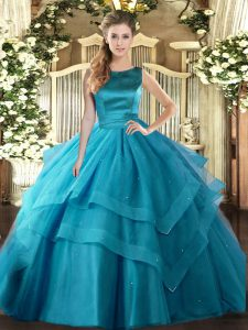 Modern Teal Ball Gowns Ruffled Layers Quinceanera Dresses Lace Up Tulle Sleeveless Floor Length