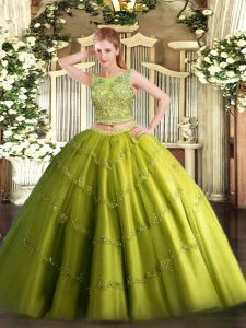 Custom Design Olive Green Lace Up Sweet 16 Dress Beading and Appliques Sleeveless Floor Length