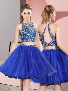 High End Mini Length Criss Cross Prom Party Dress Blue for Prom and Party with Beading