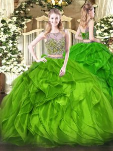 Free and Easy Two Pieces Quinceanera Dress Green Scoop Organza Sleeveless Floor Length Lace Up
