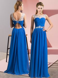 Best Scoop Sleeveless Clasp Handle Blue Chiffon