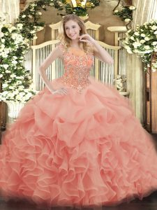 New Arrival Floor Length Baby Pink Sweet 16 Dresses Organza Sleeveless Beading and Ruffles