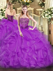 Purple Strapless Lace Up Beading and Ruffles Sweet 16 Dresses Sleeveless